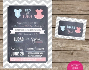 DIY Ties & Tutus Birthday Invitation Kit - Invite AND Thank You Card included