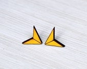 earrings »chevron arrow« sunny yellow geo wood