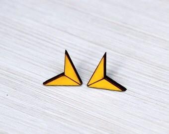 earrings »chevron arrow« sunny yellow geo wood