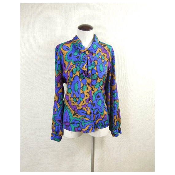 90s Lady Hip Hop Librarian Polyester Vintage Button Down