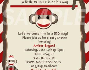 Chevron Sock Monkey Baby Shower Invitation