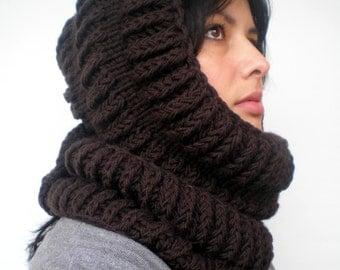 Dark  Chocolate Brown  Ball Hooded Scarf Soft mixed Wool  Hood Fashion  Chunky Hooded Scarf NEW