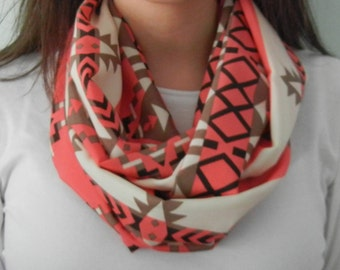 Coral, Cream, and Brown Tribal Aztec Print Infinity Scarf
