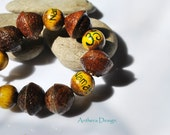 Yoga Bracelet - Natural  Jewelry - Chakra Om Bracelet - Real Acorn - Eco Friendly Jewelry