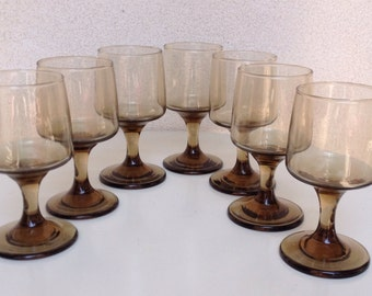 Vintage wine glasses smoke tint set of 7