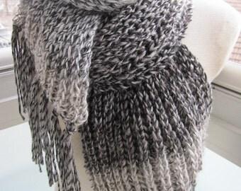 Men's Knitted scarf gray, beige grey degrade Knit-long- blanket scarf-knit scarves,man fashion,women Winter fashion-accessory scarves2012
