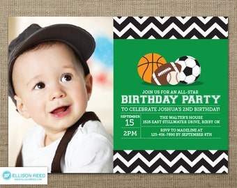 Sports Invitation - First Birthday Invitation - Sports Birthday - Sports Printable - Sports Birthday - Chevron - Boy Birthday