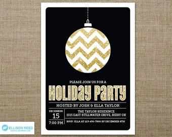 Glitter Christmas Party Invitation - Christmas Invitation - Holiday Party Invitation - Chevron - Ornament - Christmas Printable - Gold