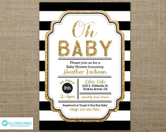 Gold Glitter Baby Shower Invitation - Oh Baby - Girl Baby Shower Invitation - Baby Shower Printable - Baby Shower Invitation - Gold & black