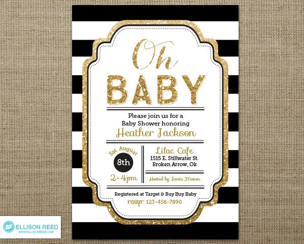 gold glitter baby shower invitation oh baby girl baby