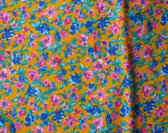 "Cotton Floral Knit Fabric Pink Blue Jade Green Bright Orange Yellow Interlock Knit - 72"" x 35"" - CKF0258"
