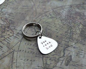 Hand stamped metal guitar pick keyring, Dad keychain, You rock Dad, Dad Christmas gift