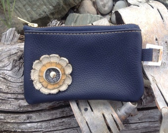 "Navy Blue Leather ""Finglet"" Purse & Cream/Yellow Flower - Soft Leather Purse - One Of A Kind - Handmade - Gifts for Her"