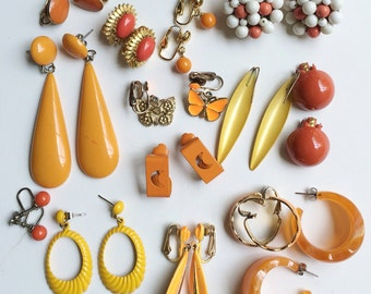 Fun vintage Earring Lot, Citrus Yellow & Orange, Signed ART Enamel Earrings, pierced and clips
