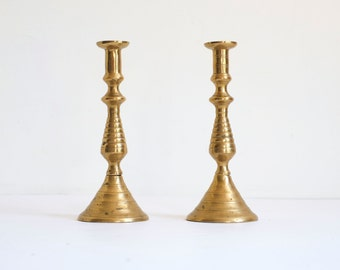 Mid Century Brass Indian Middle Eastern Taper Candle Stick Holder Set of 2