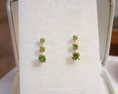 Peridot & 10K Gold Earrings SOLID Yellow Gold 3 Stone Earrings Genuine Gemstone Artisan Altered Authentic Vintage