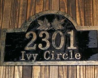 Custom Carved Address Sign Fleur De Lis Antique Brass Finished