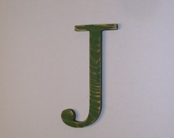 Distressed Wood Letter J 12-inch  Initial Choice of Letter and Color!