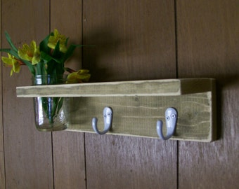Shabby Wood Entry Shelf Hanger Hooks with Shelf and Flower Vase