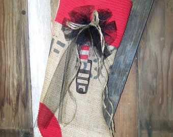 Rustic Burlap Stocking Burlap Christmas Stocking