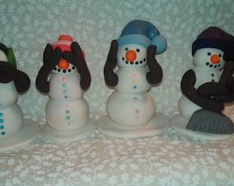 Polymer Clay - Do no Evil, Speak no Evil, See no Evil, Hear no Evil Snowmen with Do No Evil added