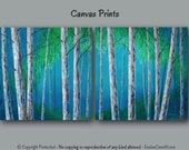 Birch tree painting Canvas art print set, Large wall art, Abstract, Landscape, Aspen, Bedroom decor, Living room, Turquoise, Blue, Green