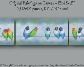 Wall art extra wide, Lovebird painting original, Canvas art, Entryway, Stairwell, Bedroom decor, Gardener gift, Colorful, Nursery, Artwork