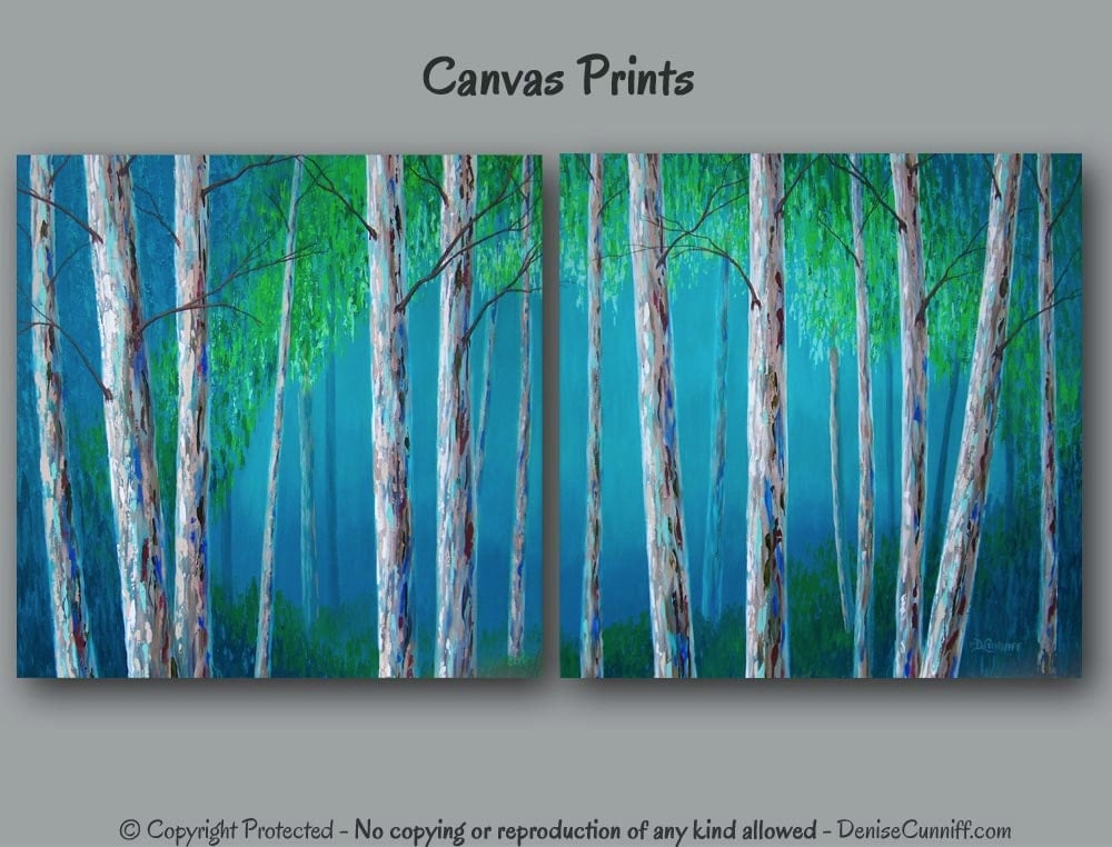 Birch tree painting canvas art print set large wall art for Blue wall art