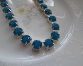 Vintage Swarovski Caribbean Blue Opal Choker Necklace, Sterling Silver Plated, Prong Set, 39ss Stones, Austrian Crystal, Sea Blue, Cerlean