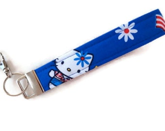 """Hello Kitty Celebrates the 4th of July~5 3/4"""" loop~Wristlet Key Chain, Keychain Wristlet for Keys with a Large Lobster Clasp. READY to SHIP"""