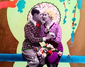 Art Deco Postcard Couple Romance Vintage 1932 French