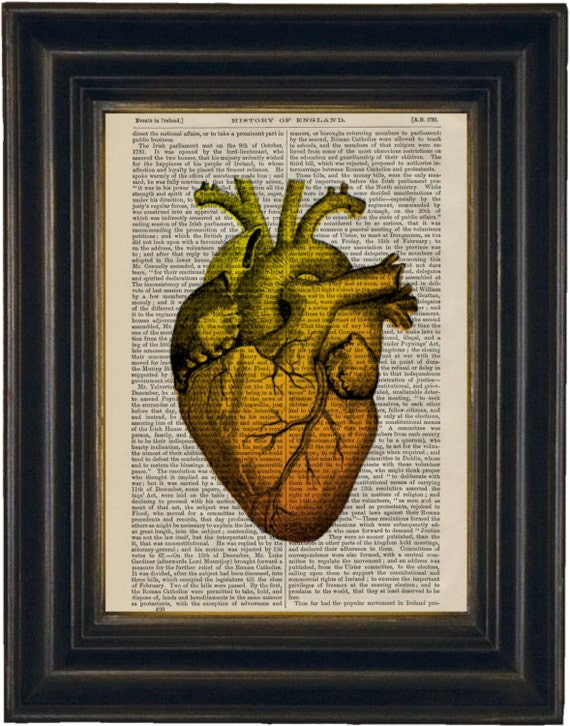 Amber Heart  Print on upcycled 1870's encyclopedia History of England Page