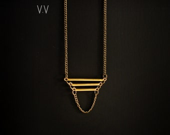 Tapered Ladder Necklace || Brass Jewelry || Antiqued Chain || Tube Necklace