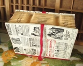Accordion File Folder with Vintage Black and White Advertising