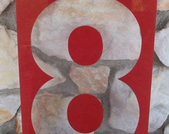 Large Vintage Red Plexiglass Gas Station Sign Number Eight, 17 in. x 8 in.