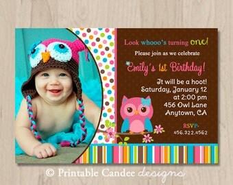 Mod Girl Owl Birthday Invitation - DIY Custom Printable
