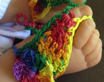 Sandals, Baby Girls Mexicana Crochet Barefoot Sandals