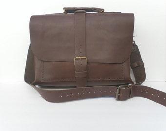 Messenger Leather Bag,Professional Work Bag,Dark Brown Cross-body Shoulder Bag For Men And Women