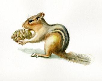 Chipmunk illustration original watercolor