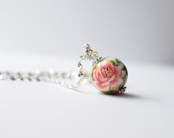 Shabby Chic Pendant Necklace, Shabby Chic Rose Jewelry