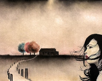 """Art print // Wind - woman - old house // """"She's been fighiting the wind"""""""