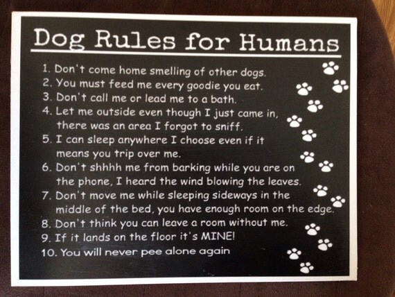 Dog Rules For Humans Decoupaged On Wood