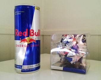 Red Bull Energy Drink Origami Ornament // Upcycled Recycled Repurposed Art // Valentines Day Gifts // weird gifts // Sculpture // Art of Can