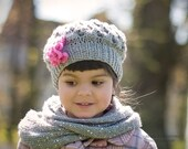 Grey Girls Hat, Grey and Pink, Kids hat - Baby, Toddlers, Childs