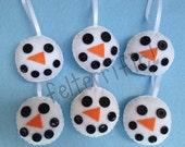 Set of 6 Handmade Felt Button Face Snowman Ornaments
