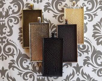 20 25x50mm Rectangle Blank Pendant Trays, Silver Rectangular Pendant Settings, bezel blank tray