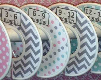 Custom Baby Closet Dividers Soft Pink Mint and Grey Chevrons Dots Unique CD163 Baby Boy Girl Shower Gift Nursery  Zig Zag Baby Organizers