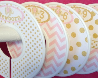Custom Baby Closet Dividers Clothes Organizers Soft Light Pink and Gold Elephants with Dots Chevrons CD010 Baby Girl Shower Gift Nursery