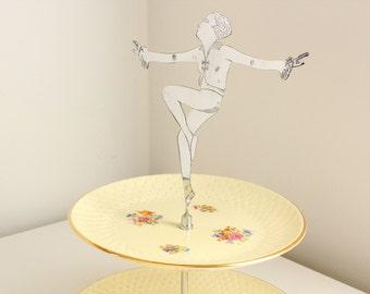 Art Deco Dancing Girl Handled Cake Stand, Vintage Manufacture, Kelsboro