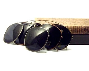 Large Square Clip on Sunglasses, Silver Metal with Gray UV Block Glasses Lenses, Vintage New Old Stock Glasses